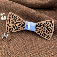 Load image into Gallery viewer, Fashion Accessories Tartan Blue Wooden Bow Tie Set - Suit Monkey UK