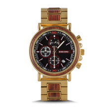 Load image into Gallery viewer, Quartz Watches Bobo Bird Men's Gold & Red Chronograph Watch - Suit Monkey UK