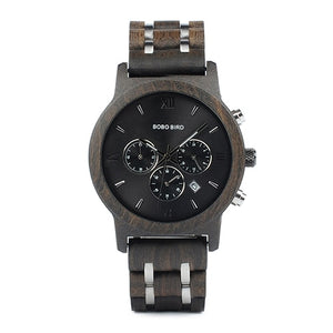 Quartz Watches Bobo Bird Men's Dark Wood & Silver Watch - Suit Monkey UK