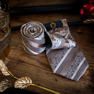Fashion Accessories Vintage Brown Stripes & Flowers Men's Necktie Set - Suit Monkey UK