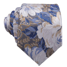 Load image into Gallery viewer, White & Blue Floral Men's Necktie Set Barry.Wang VIP Store