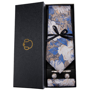 White & Blue Floral Men's Necktie Set Barry.Wang VIP Store