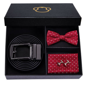 White Dots on Red Men's Bow Tie Set Men's Ties & Handkerchiefs Barry.Wang Official Store