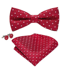 Load image into Gallery viewer, White Dots on Red Men's Bow Tie Set Men's Ties & Handkerchiefs Barry.Wang Official Store