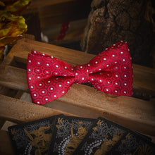 Load image into Gallery viewer, White Dots on Red Men's Bow Tie Set Men's Ties & Handkerchiefs Free Shipping!