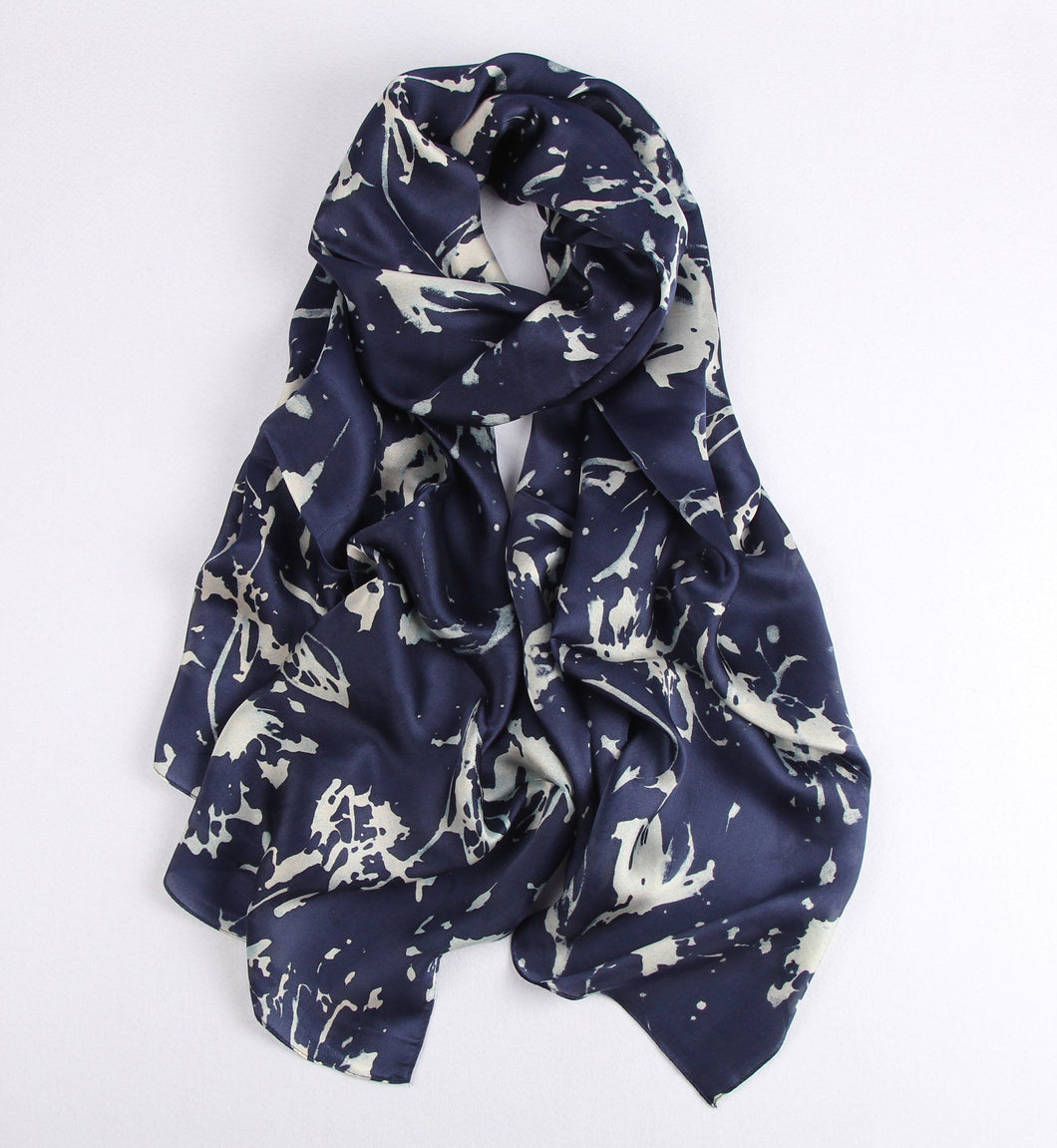 White Splatters on Blue Ladies' Scarf Fashion Accessories Suit Monkey UK