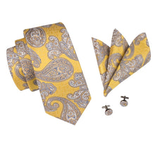 Load image into Gallery viewer, Yellow Paisley Necktie Set Men's Ties & Handkerchiefs Free Shipping!