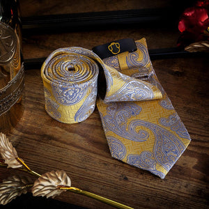 Yellow Paisley Necktie Set Men's Ties & Handkerchiefs Free Shipping!