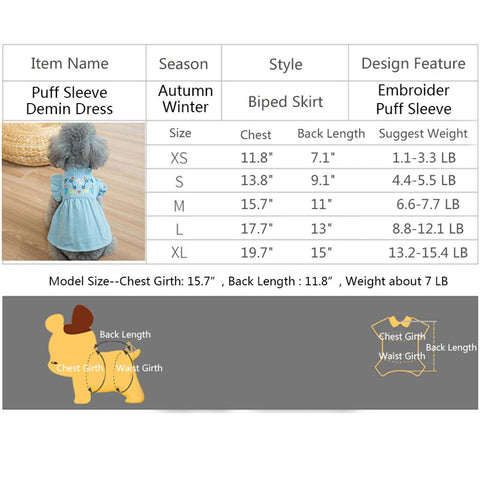 size of Denim Dog Dress Puffed Sleeves QBLEEV