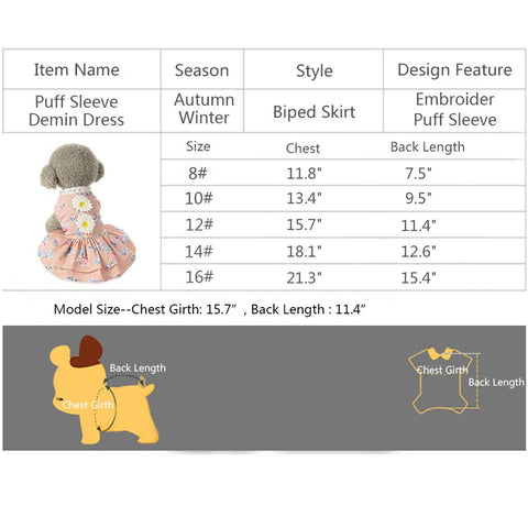 size of Sun Flower Dog Dress QBLEEV