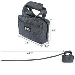 size of Qbleev dog leash and food handbag