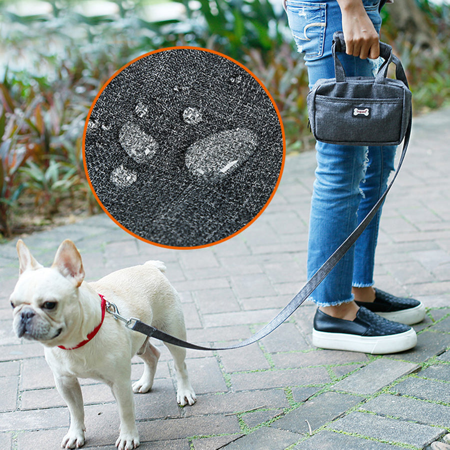 waterproof Qbleev dog leash and food handbag