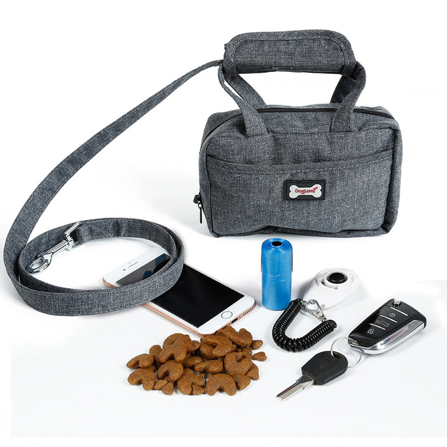 Qbleev dog leash and food handbag