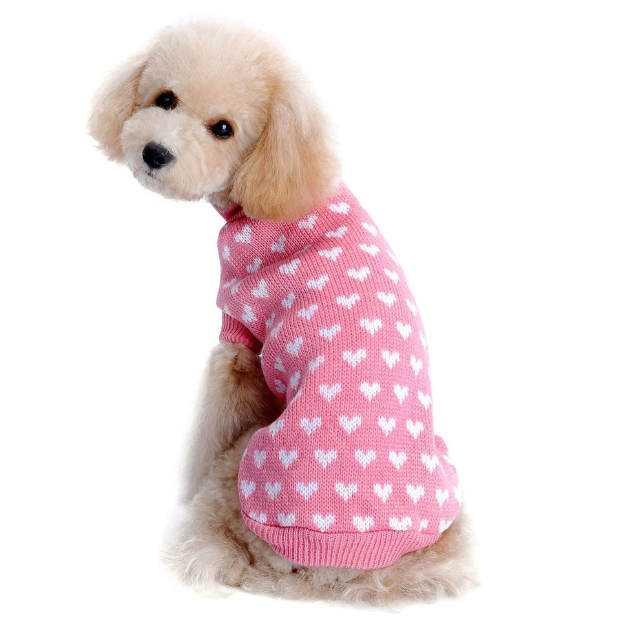 Dog Sweater with Lovely Heart Autumn Winter Knitwear Pink
