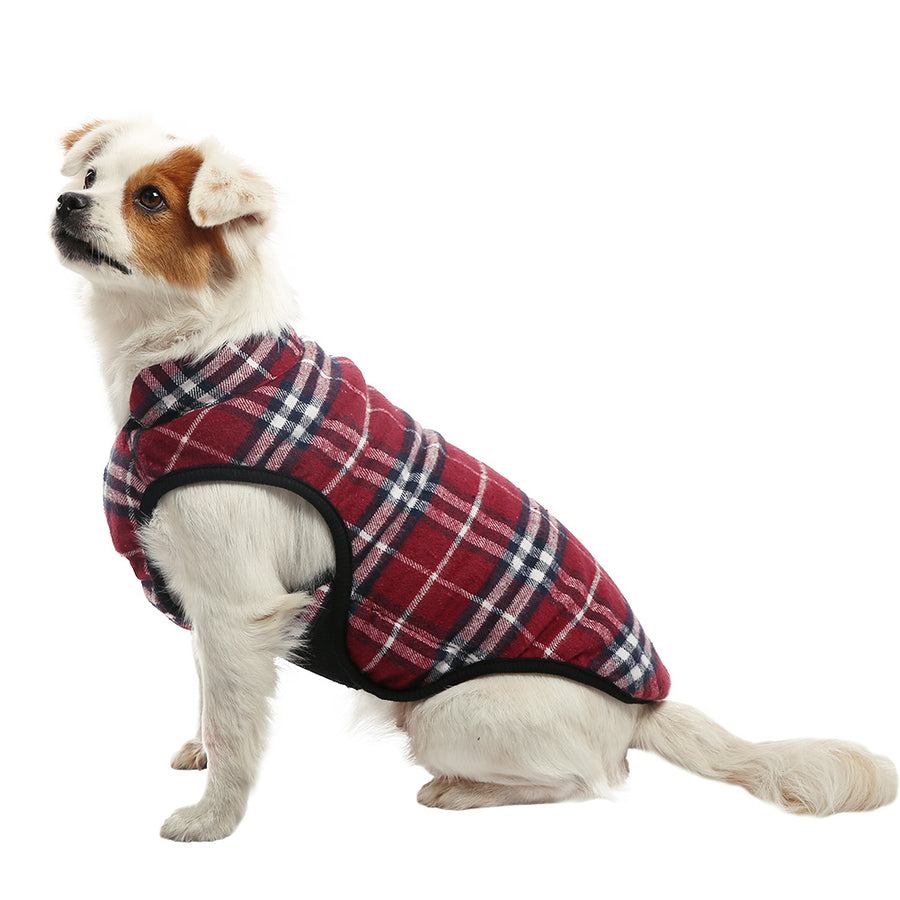 QBLEEV Cold Weather Coats Fleece Dog Jacket Plaid Puppy Vest Clothes