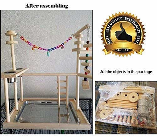 Bird Play Stand Playground Toy Perch  Ladder with Feeder Cups