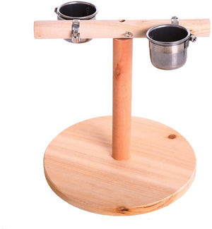 Parrot Training Perches Stand with Stainless Steel Feeder Cup