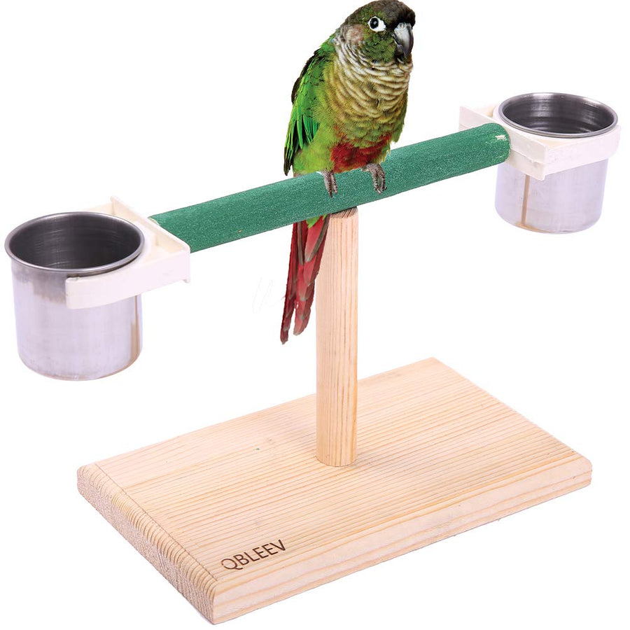 QBLEEV Bird Play Stands with Feeder Cups