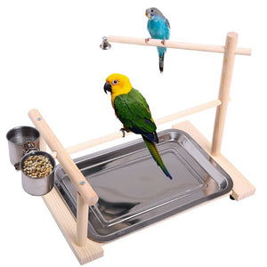 Parrot Wood Play Stand Portable Exercise Toy