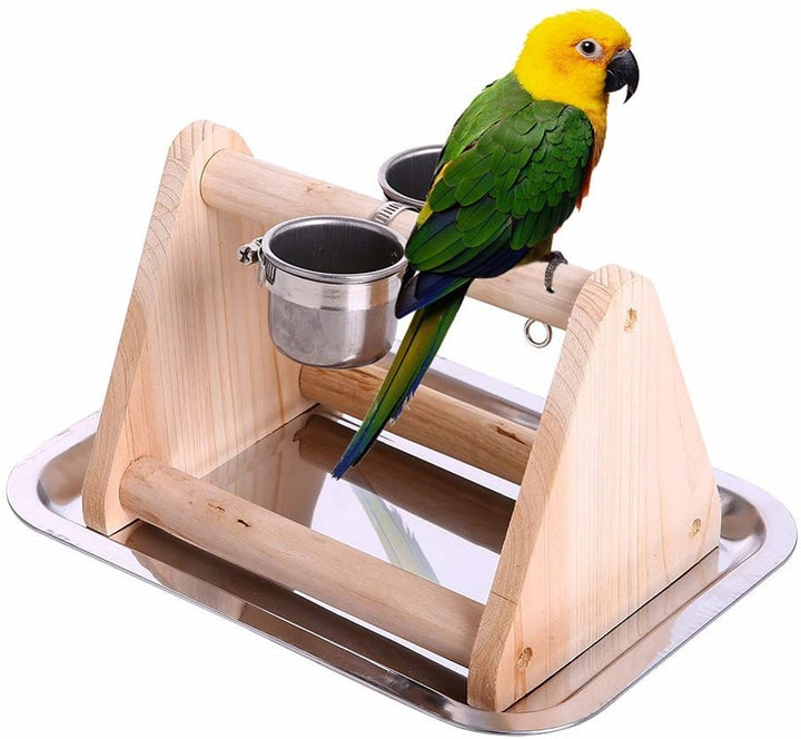 Bird Training Perches Stand Parrot Table Stand Toy with Feeder Cup Tray