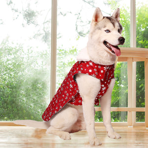 Dog Winter Coat Reversible, Snowflake Style, Red, Blue