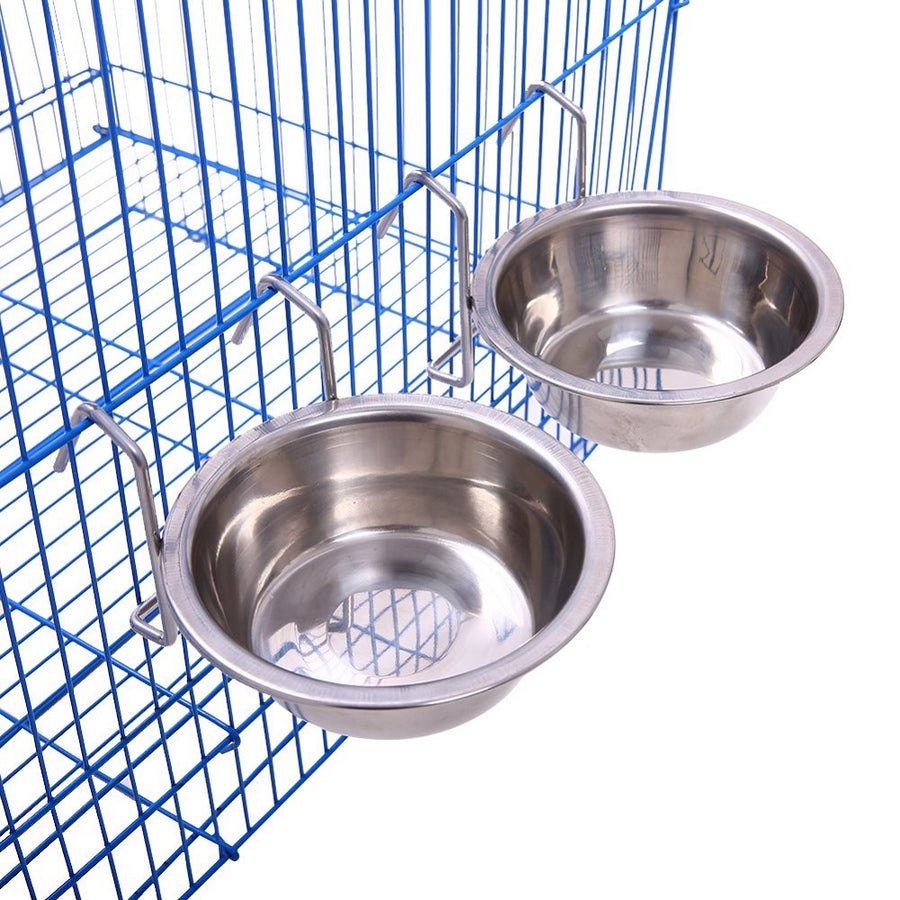 QBLEEV Birdcage Food Cups Stainless Steel Bird Feeders -2pack