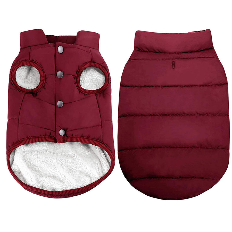 2 Layers Fleece Lined Warm Dog Jacket - Red, Coffee, Blue