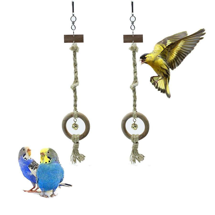 2pcs Bird Wood Chew Toy with Bell