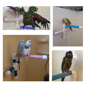 PARROTS STAND ON A BIRD SHOWER PERCH