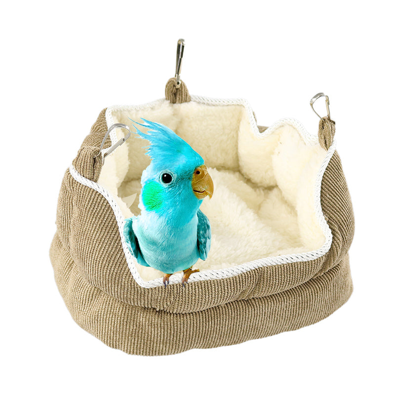 Winter Warm Plush Parrot House Hammock Birdcage Bed for Small Animal Parakeet Bird