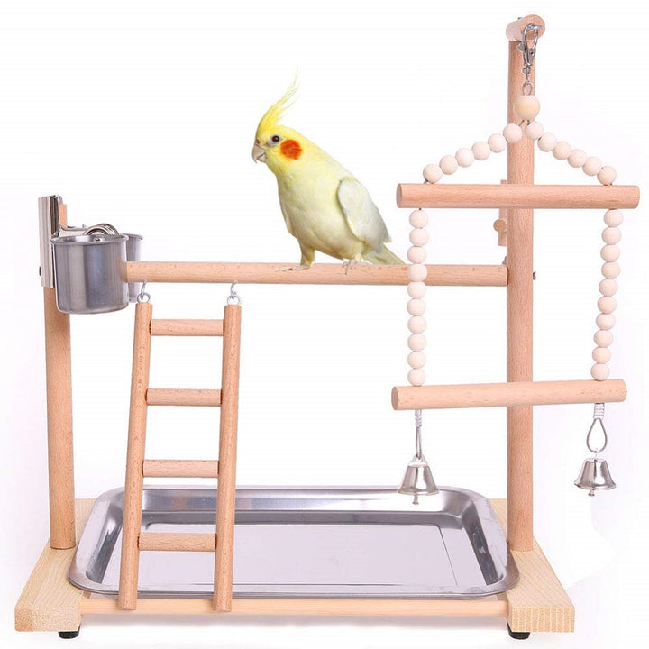 QBLEEV-Bird Wood PlayStand Parrot Playpen Perch