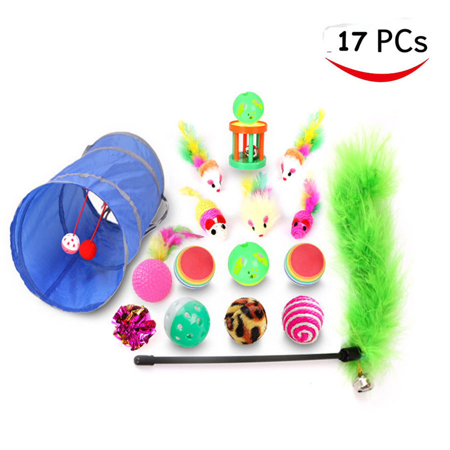 Cat Toys Set Kitty Feather Teaser Wand,