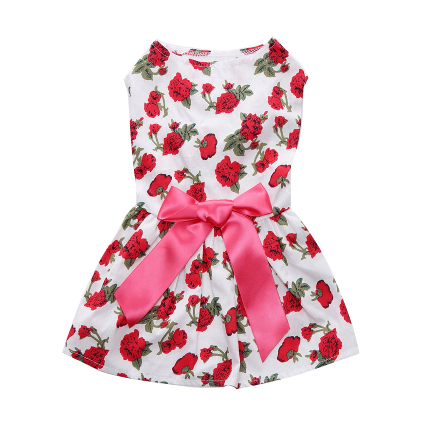 Floral Dog Dress Rose Printed QBLEEV