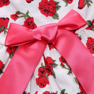 bow on the back of Floral Dog Dress Rose Printed QBLEEV