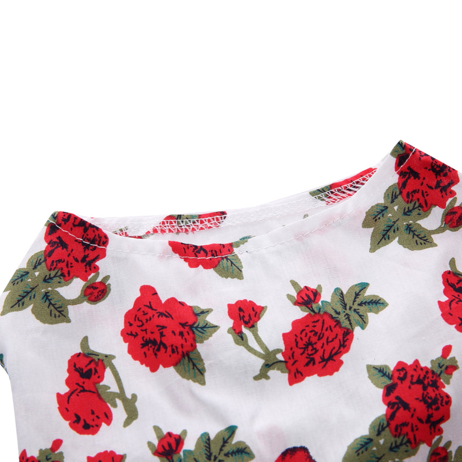 Rose Printed on  Floral Dog Dress QBLEEV