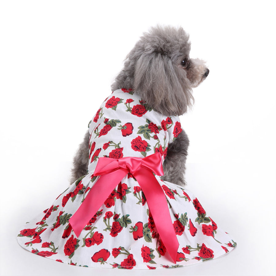 Back of Floral Dog Dress Rose Printed QBLEEV
