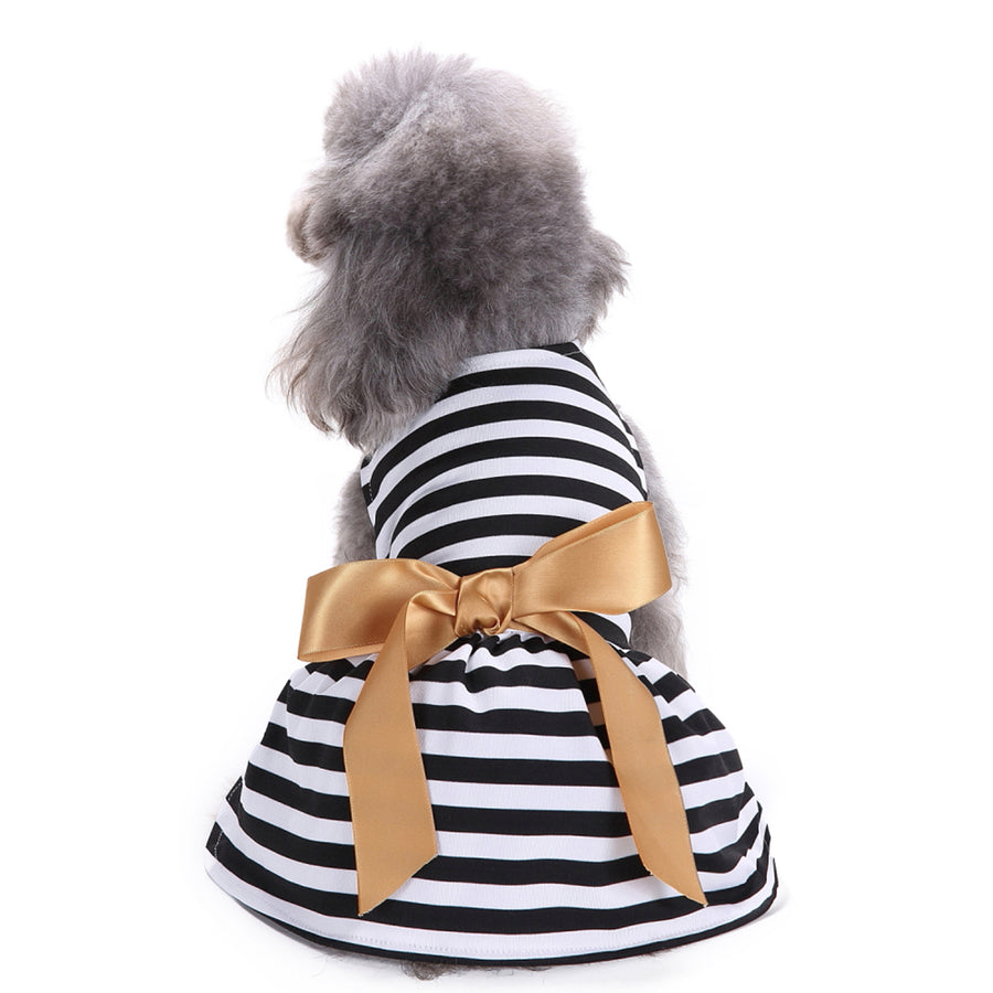 Pet stripe Dress with bow