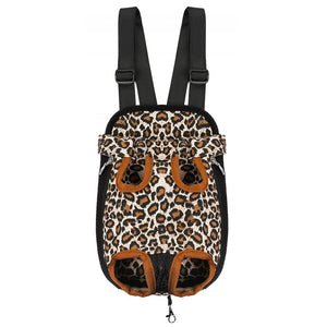 Qbleev warm dog backpack carrier leopard