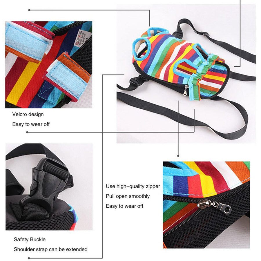 design of Qbleev dog backpack carrier rainbow