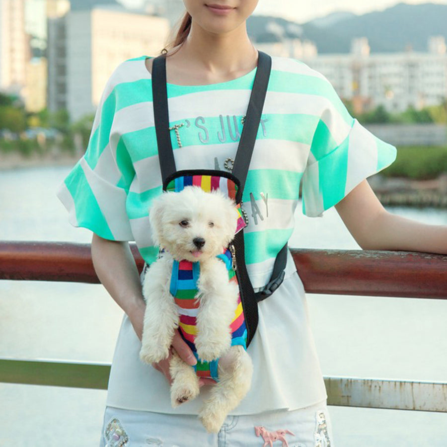 Qbleev dog backpack carrier rainbow carried on the front