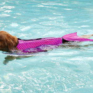 Dog Life Jacket Mermaid Red with Reflective Stripes & adjustable Belt