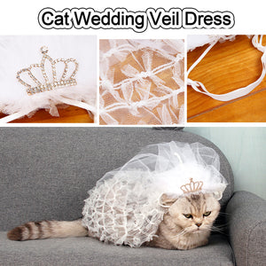 Dog Wedding Dresses Puppy Bride Veil Luxury Lace Princess Wedding Accessory