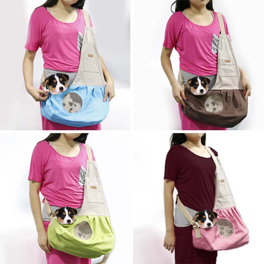 Qbleev adjustable dog sling with pockets and ventilation mesh carried by girls
