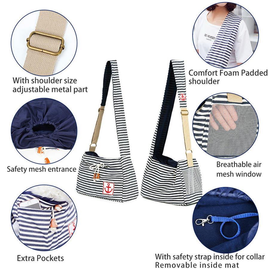 Striped Dog Sling With Separate Pockets for Puppy & Cats