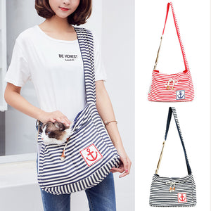 Qbleev striped dog sling with separate pockets for puppy and cats
