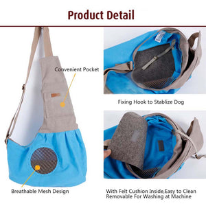 detail of Qbleev adjustable dog sling with pockets and ventilation mesh
