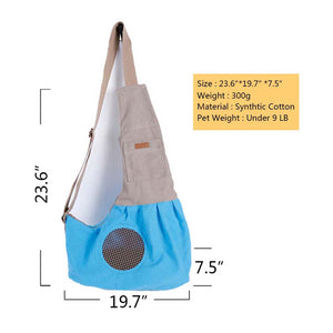 size of Qbleev adjustable dog sling with pockets and ventilation mesh