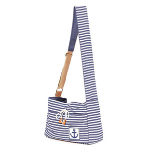 Qbleev striped dog sling blue and white for puppy and cats