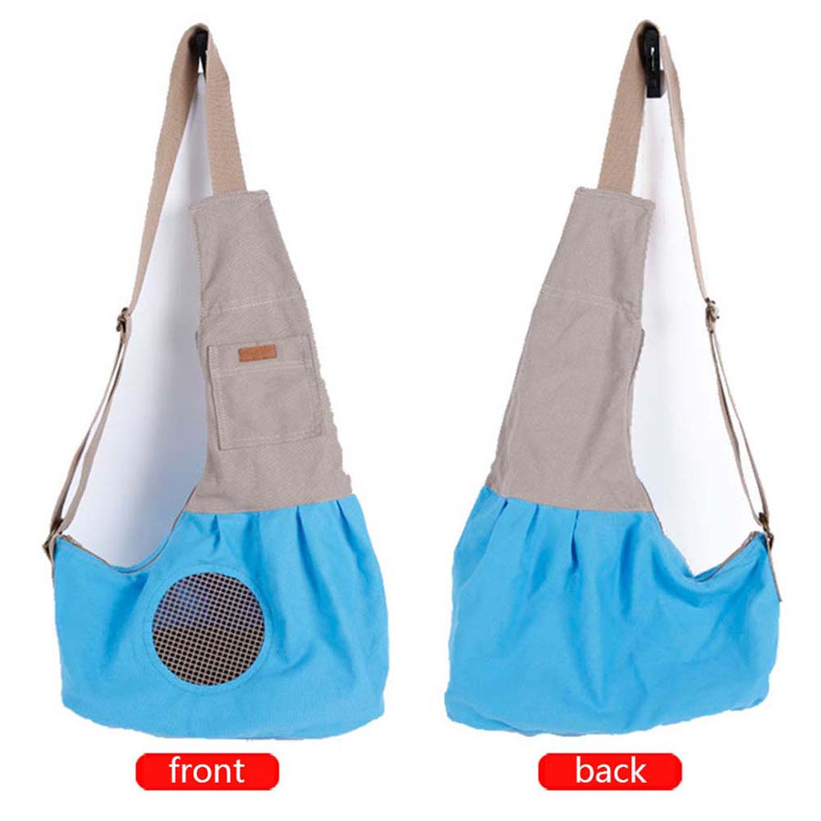 right and left sides of Qbleev adjustable dog sling blue with pockets and ventilation mesh