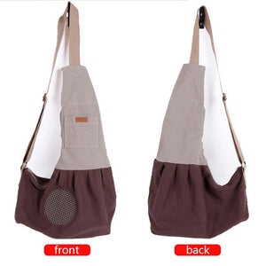 left and right sides of Qbleev adjustable dog sling brown with pockets and ventilation mesh